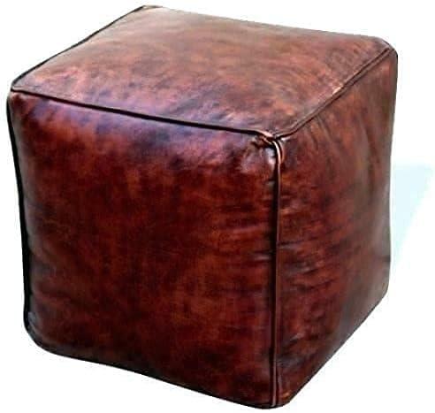AnewStraw Square Dark Brown Ottoman Moroccan Pouf, Dark Brown Pouf, Ottoman Real Leather