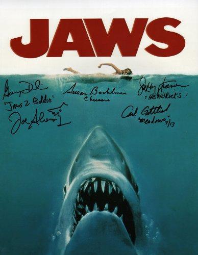 Jaws Reunion Writing Autographed / Hand- Signed by Screenwriter Carl Gottlieb, Production Designer Joe Alves, Stars Susan Backlinie, Jeffrey Kramer, Gary Dubin