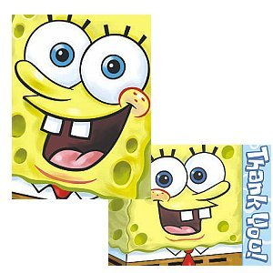 Sponge Bob Birthday Party Supplies - Invite and Thank You Combo by Designware (Image #1)