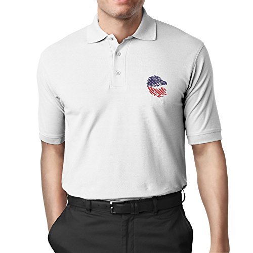 Hall Avenue Apparel Handmade Embroidery American Flag Eagle Design Polo/Collared Shirt (White, XL) (Embroidery Flag Eagle)