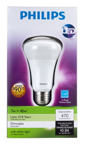 046677424374 - Philips 424374 7-Watt (40-Watt) A19 LED Household Soft White Light Bulb, Dimmable carousel main 3