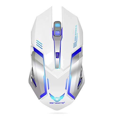 FFQNG Wireless Gaming Mouse,Wireless Rechargeable Mouse with Colorful LED Lights and 2400 DPI 600mah Lithium Battery for Laptop and -