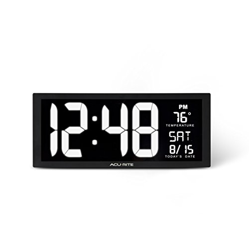 AcuRite 75159M Large LED Digital Clock, 14.5-Inch, White