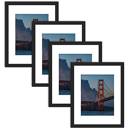 11x14 Picture Frame with Mat for 8x10 Set of 4,11 by 14 Inch Black Wood Frame with Real Glass,Wall and Tabletop Display 8 by 10 Frame (11x14 matted to 8x10, Set of 4)