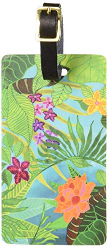 Graphics & More Tropical Forest Green Blue Luggage Tags Suitcase Carry-on Id, White
