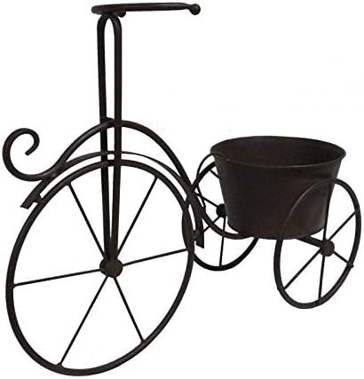 Bicicleta bicicleta en hierro marrón maceta de puerta maceta flor ...
