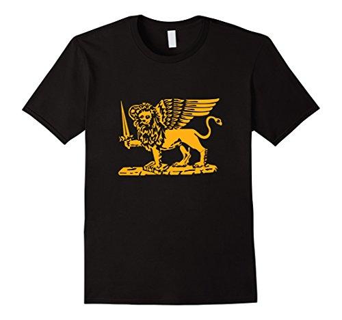 Lions Sword (Men's Republic of Venice flag St. Mark Lion sword book tshirt Large Black)