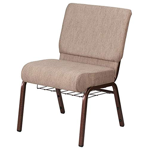 - Modern Design Commercial Grade Banquet Chair Sturdy 16 Gauge Steel Frame Thick Waterfall Edge Seat with Book Rack Home School Office Furniture - (1) Beige Fabric/Copper Vein # 2037