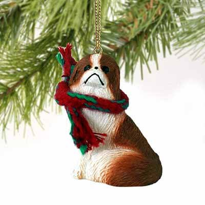 - Japanese Chin Miniature Dog Ornament - Red & White