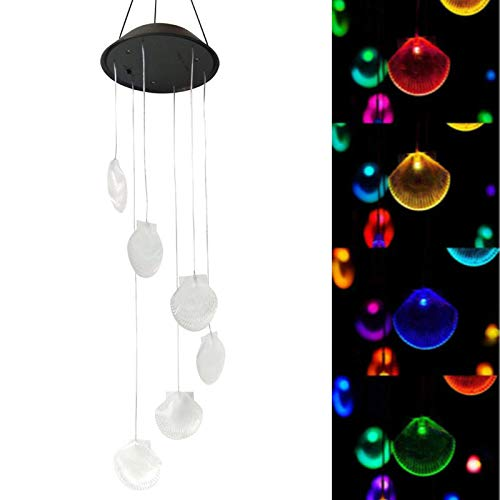 Solar Seashell Wind Chimes Outdoor,LED Color Changing Solar Lights Outdoor Decor Mobile Wind Spinner Wind Chimes for Home Party Night Garden Decoration