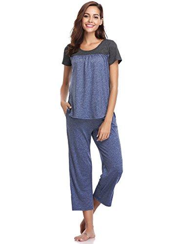 wear Cotton Short Sleeve Pleated Stitching Top and Capri Pant Pajama Set (Navy, XX-Large) (Womens Pajamas Set Top Pants)