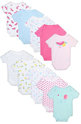 Onesie Bodysuit Shirt - Rene Rofe Baby Girl's and Boys Short Sleeve Bodysuits (10 Pack) Ice Cream/Watermelon, 6-9 Months'
