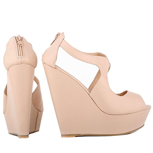 Nude Womens Strap Leater Sandals Matt Ankel Loslandifen Wedge Ladies Platform nzZwxwC