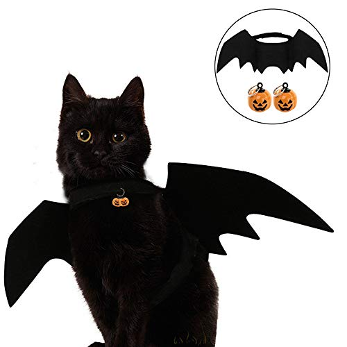 Symphony Halloween Costume for Cat, Halloween Pet Clothes Bat Wing with 2 PCS Pumpkins Cat Bell for Puppy Dog Cat ()