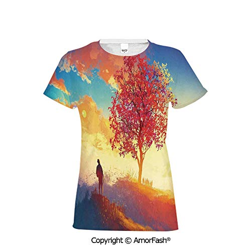 Distinctive Women's Premium Polyester T-Shirt,Abstract Home Decor,Autumn Landsca -