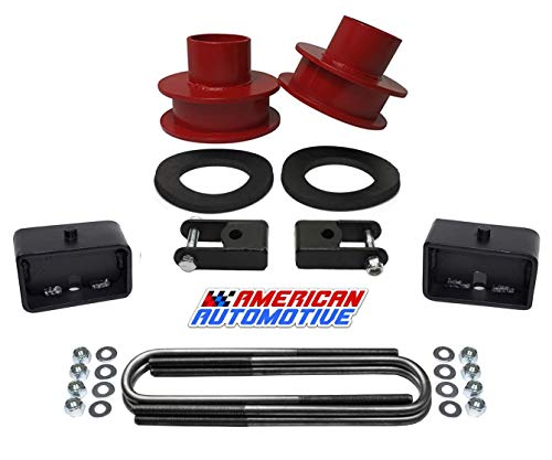 - American Automotive F250 F350 Super Duty 4WD 3.5 Red Front Leveling Lift Spring Spacers and 3 Rear Lift Block Kit + Shock Extenders