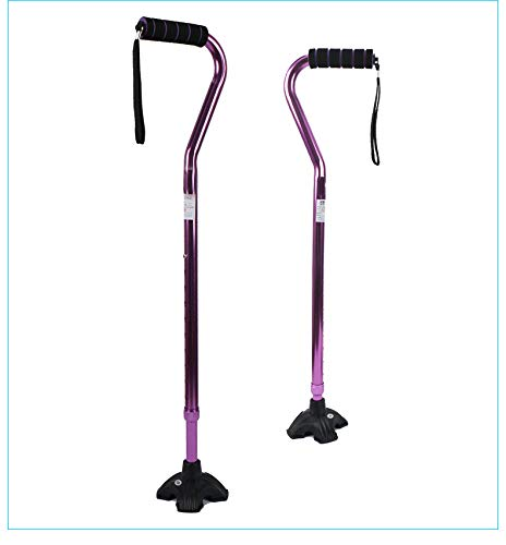 (ZJDU Five-Claw Single-Turn, Thick Aluminum Cane, Elastic Sponge Handle, Old Man Cane, Adjustable Height,Purple)