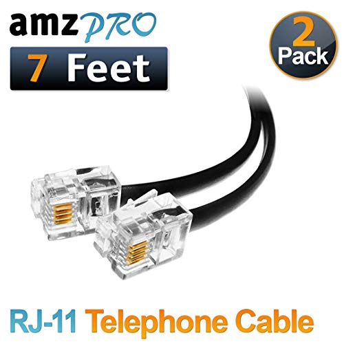 (2 Pack) 7 Feet Black Telephone Cable RJ11 Male to Male 84 inch Phone Line - Cord 7' Line Phone