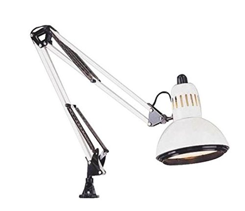 Satco Products SF76/360 Clamp on Swing Arm Drafting Light, White