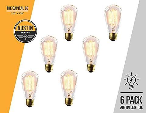 Edison light bulb – 6 Pack – The Capital - 60 Watt Bulb - Choose from many other designs. Inspired by Thomas Edison these incandescent filament style bulbs provide retro vintage light (100watt Edison Light Bulbs)