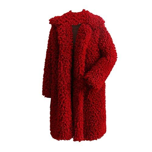 Goyfeelip S Plus in Cappotto lungo red con Size Donna Color risvolto pelliccia Capispalla con Giacca Inverno pile Deep cardigan in sintetica Size r50wr1Enqx
