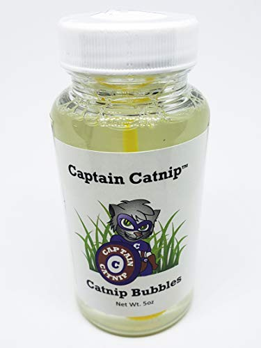 CaptainCatnip Catnip Infused Bubbles for Cats & Kittens (5oz) | Premium Catnip Grown in The USA | Long Lasting and Includes Bubble Blowing Wand | Non-Toxic, Safe for Pets to Bite and Kids to Swallow (Bubble Catnip)