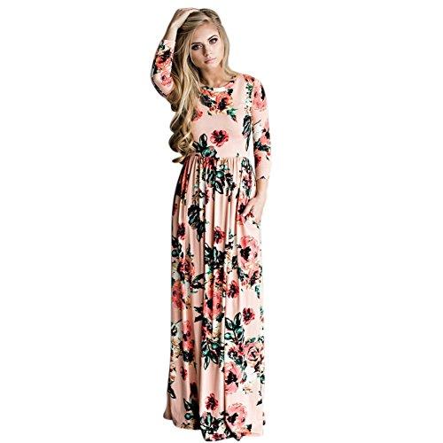 Daxin Femmes O-cou Robes Maxi Longueur Floral Étage Imprimé Partie Soir Rose Robe Formelle