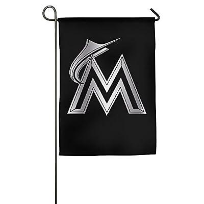 MTSHIQD Miami Marlins Platinum Logo Garden Flag