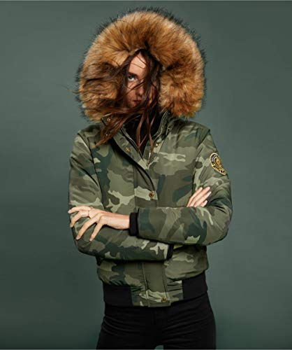 4686eb56e89e0 Amazon.com: Holland Cooper Women's Cortina Faux Fur Trim Down Bomber Jacket  Green: Clothing