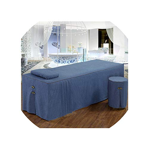 (Pure Color Cotton Embroidery Brief Bed Skirt 70190Cm Beauty Salon Bedspread with Hole Pink Blue,Color 02,70X190Cm One Piece)