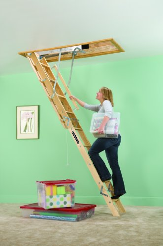 Louisville Ladder S254P 250 Pound Duty Rating Wooden Attic Ladder Fits  7 Foot To 8 Foot 9 Inch Ceiling Height, 25.5 To 54 Inch Rough Opening