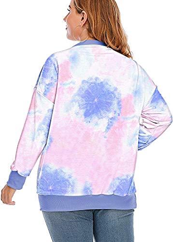 YASAKO Womens Plus Size Casual Tie Dye Camo Print Long Sleeve Shirts Crew Neck Loose Fit Sweatshirt Pullover Tops (Tie Dye-A, 3X-Large)