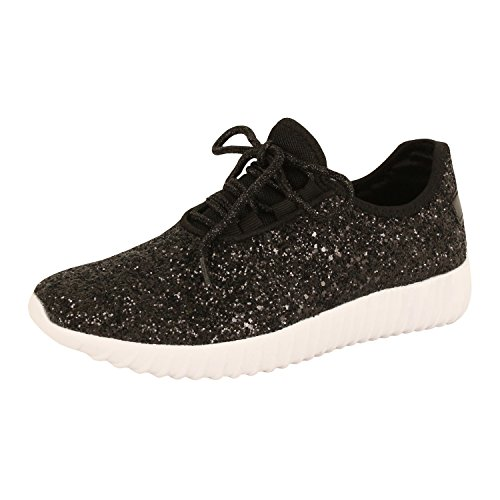 Guilty Schuhe Damenmode Glitter Metallic Schnürschuh Sparkle Slip On - Wedge Platform Sneaker Schwarzer Glitter