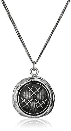 Pyrrha Talisman Men's Sterling Silver Crossed Daggers Pendant Necklace, 22