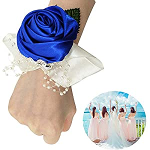 Zaptex Bride Bridesmaid Wrist Corsage Rose Flower for Wedding Prom Festival Decoration 9