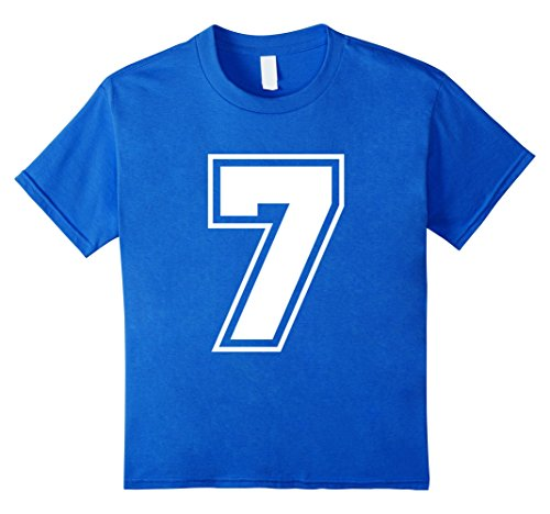 Number 1 Fan Costume (Kids Number 7 T-Shirt - More Colors Letters & Numbers Available 8 Royal Blue)