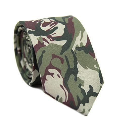 DAZI Men's Skinny Tie, Cotton Wool Linen Necktie, Great for Weddings, Groom, Groomsmen, Missions, Dances, Gifts. (Camo)