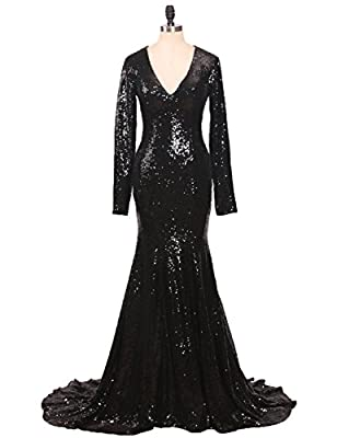 CIRCLEWLD Sequins Mermaid Evening Gowns Long Sleeves/Sleeveless For Women Wedding Party E122
