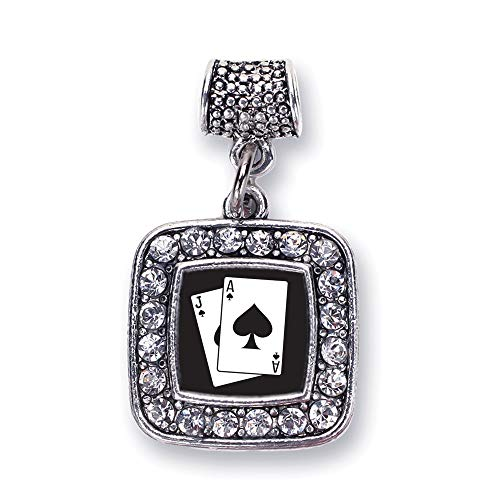 Inspired Silver - Blackjack Memory Charm for Women - Silver Square Charm for Bracelet with Cubic Zirconia Jewelry