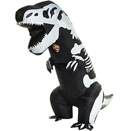 Morph Men's Giant Skeleton T-rex Inflatable Costume, -