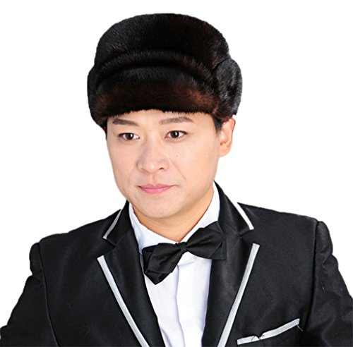 YR Lover Men's Mink Fur Trapper Caps Gentleman Hat Rick cap Beret Caps