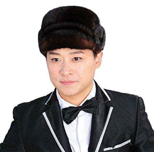 YR Lover Men's Mink Fur Trapper Caps Gentleman Hat Rick cap Beret Caps