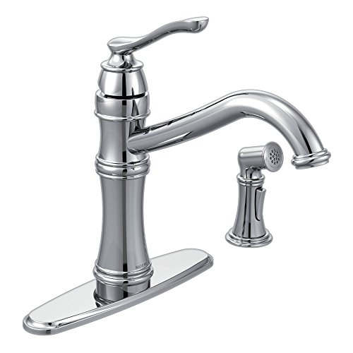 Moen 7245C Belfield One-Handle High Arc Kitchen Faucet with Side Spray, ()