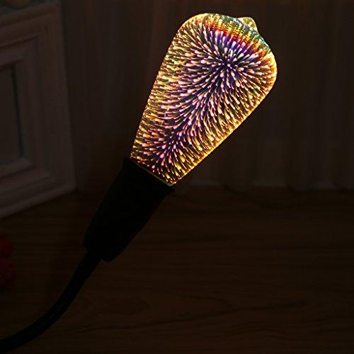LIYUDL Multicolor LED light Bulb, E27 ST64 Colourful 3D Fireworks Ball Lights Star Shine Decoration Multiple Reflection Alluminum Plated Glass