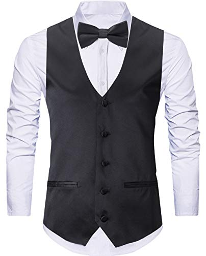 WANNEW 4pc Mens Tuxedo Vest Suit Vest Paisley Vest Set, with Bow Tie, Neck Tie & Pocket Hanky (Medium, Black) ()