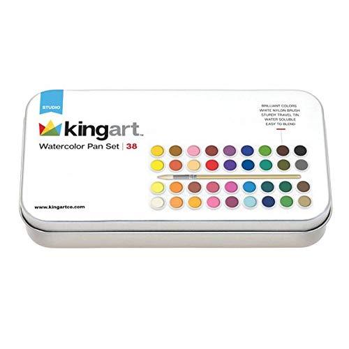 KINGART 510-36 Metal Tin Case, Set of 36 Unique Colors Watercolor Paint, Assorted 36 Piece