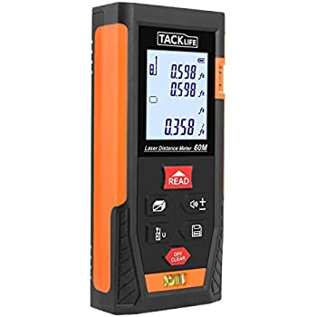 Tacklife HD60 Classic Laser Measure 196 Feet M/In/Ft Portable Laser Distance Meter with 2 Bubble Levels Mute Function for High Accurate Measurement Battery Included