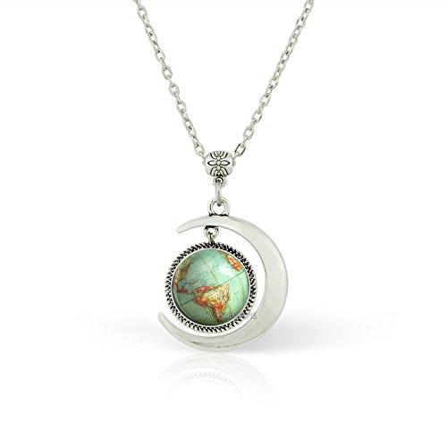 WUSHIMAOYI Moon Pendant Vintage Globe Necklace Planet Earth World Map Art Pendant Necklace