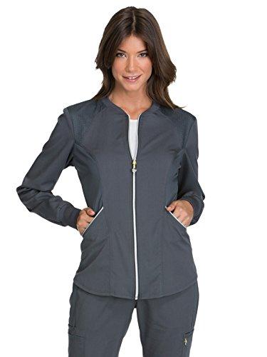 Cherokee Women's Luxe Sport Zip Front Warm-up Jacket, Pewter, L
