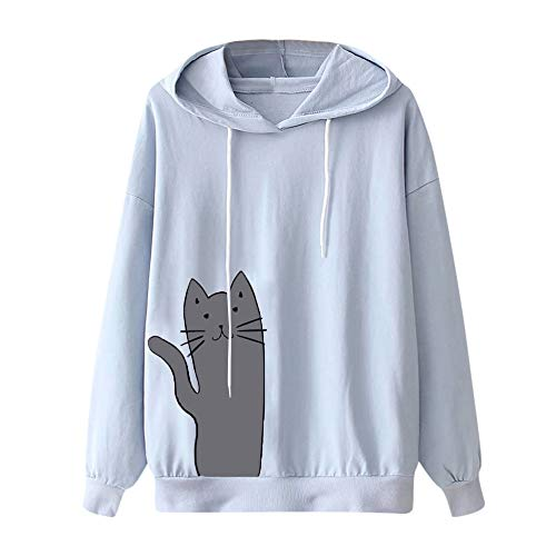 ✦HebeTop ✦ Women's Cat Print Sweatshirt Long Sleeve Loose Pullover Shirt Blue